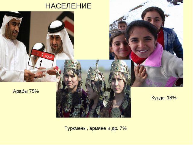 Арабы 75% Курды 18% Туркмены, армяне и др. 7% НАСЕЛЕНИЕ