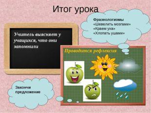 Итог урока Учитель выясняет у учащихся, что они запомнили Проводится рефлекси