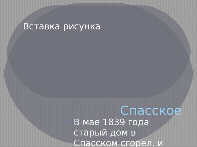 Спасское В мае 1839 года старый дом в Спасском сгорел, и Тургенев вернулся на...