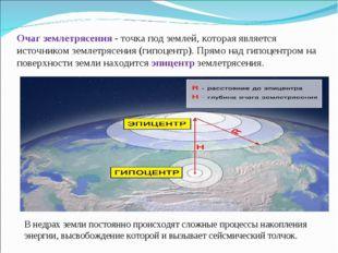 Очаг землетрясения - точка под землей, которая является источником землетрясе