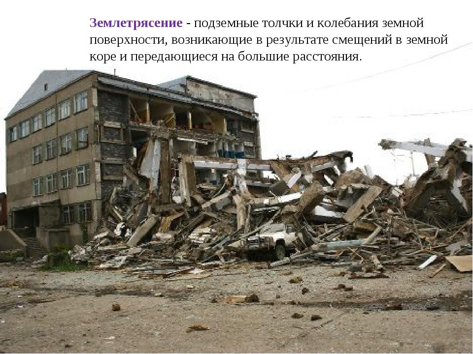 Землетрясение - подземные толчки и колебания земной поверхности, возникающие...