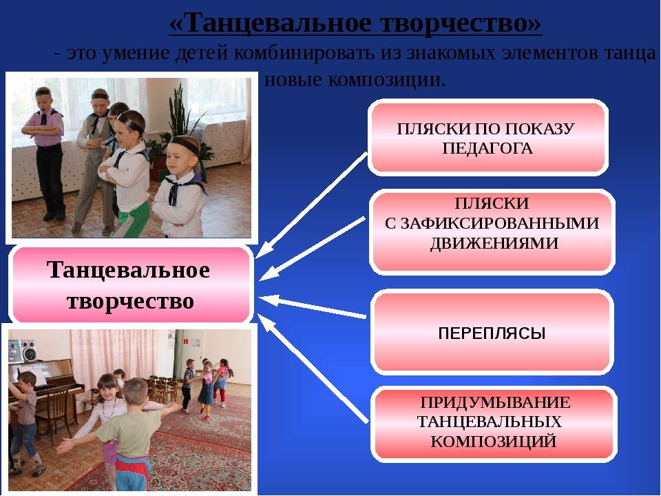 «Танцевальное творчество» - это умение детей комбинировать из знакомых элеме...
