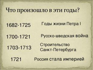 1682-1725 1703-1713 1721 1700-1721 Годы жизни Петра I Русско-шведская война С