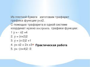 Практическая работа Из плотной бумаги изготовим трафарет графика функции у=х2