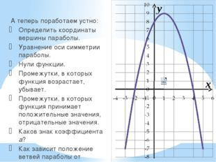 x y А теперь поработаем устно: Определить координаты вершины параболы. Уравне