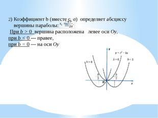 2) Коэффициент b (вместе с а) определяет абсциссу вершины параболы: При b > 0