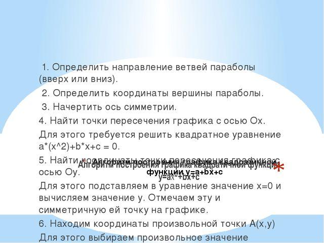 1. Определить направление ветвей параболы (вверх или вниз). 2. Определить ко...
