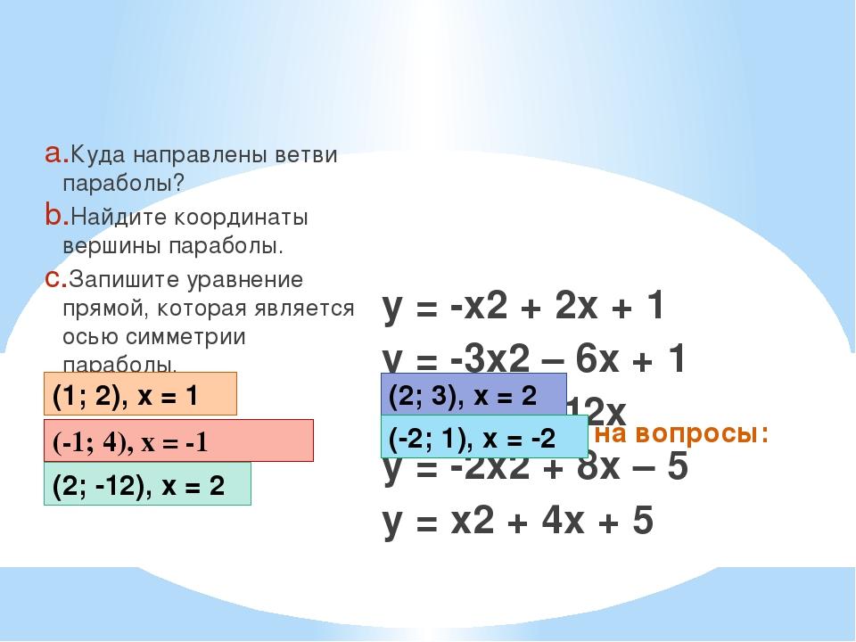 Ответьте на вопросы: Куда направлены ветви параболы? Найдите координаты верши...