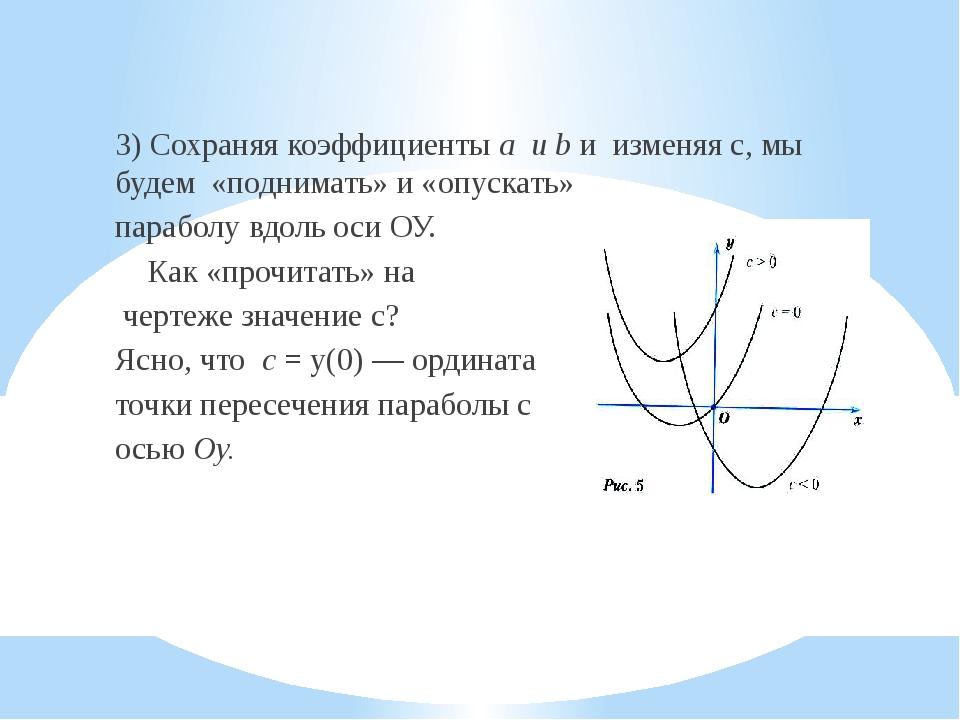 3) Сохраняя коэффициенты a и b и изменяя с, мы будем «поднимать» и «опускать...