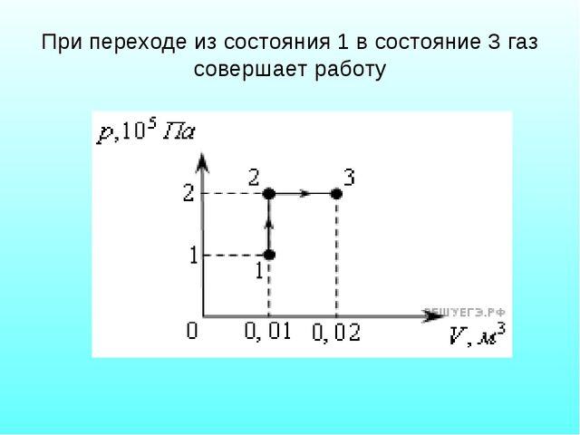 При переходе из состояния 1 в состояние 3 газ совершает работу
