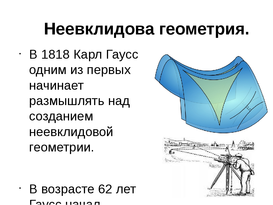 Неевклидова геометрия. В 1818 Карл Гаусс одним из первых начинает размышлять...