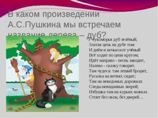 В каком произведении А.С.Пушкина мы встречаем название дерева – дуб? У лукомо