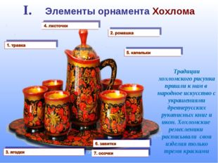 I. Элементы орнамента Хохлома Традиции хохломского рисунка пришли к нам в нар