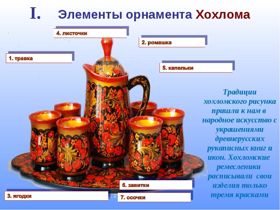 I. Элементы орнамента Хохлома Традиции хохломского рисунка пришли к нам в нар...