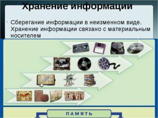 Хранение информации Сберегание информации в неизменном виде. Хранение информа
