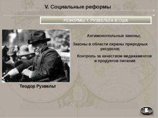 V. Социальные реформы Теодор Рузвельт РЕФОРМЫ Т. РУЗВЕЛЬТА В США Антимонополь