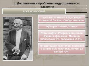 Д.Рокфеллер I. Достижения и проблемы индустриального развития РОСТ МОНОПОЛИЙ