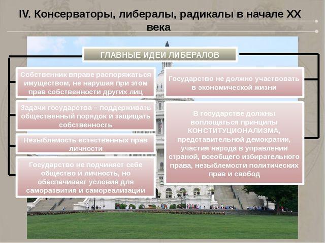 IV. Консерваторы, либералы, радикалы в начале XX века ГЛАВНЫЕ ИДЕИ ЛИБЕРАЛОВ...