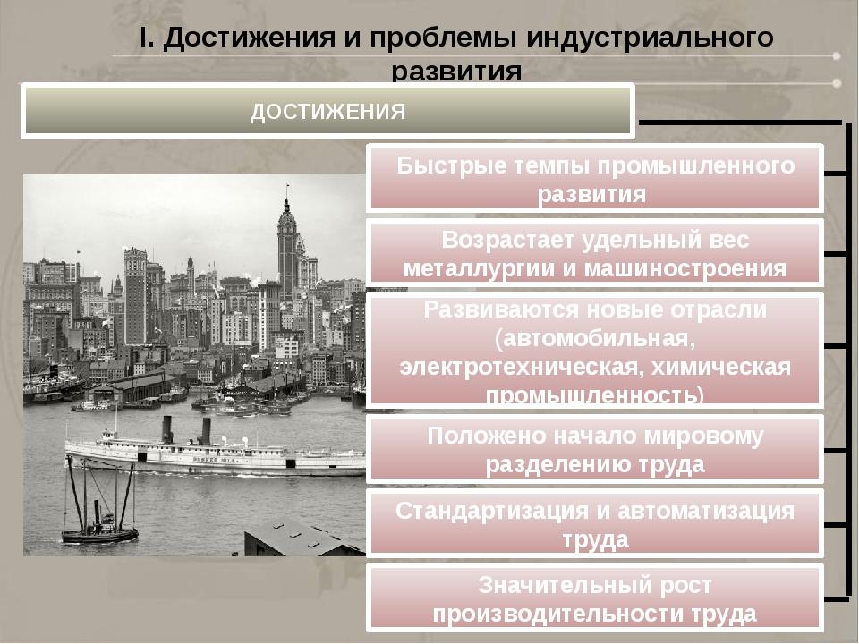 I. Достижения и проблемы индустриального развития ДОСТИЖЕНИЯ Быстрые темпы пр...