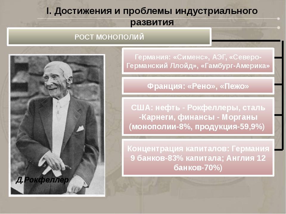Д.Рокфеллер I. Достижения и проблемы индустриального развития РОСТ МОНОПОЛИЙ...