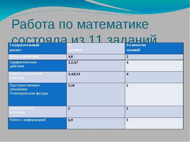 Работа по математике состояла из 11 заданий Содержательный раздел № задания К...
