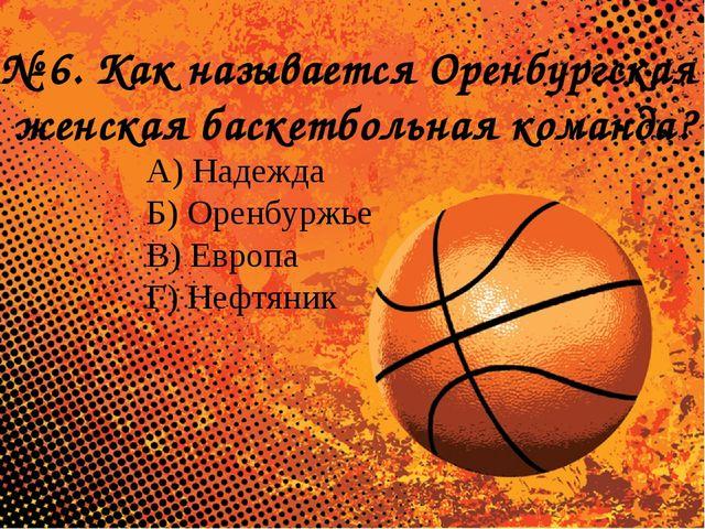 № 6. Как называется Оренбургская женская баскетбольная команда? А) Надежда Б...