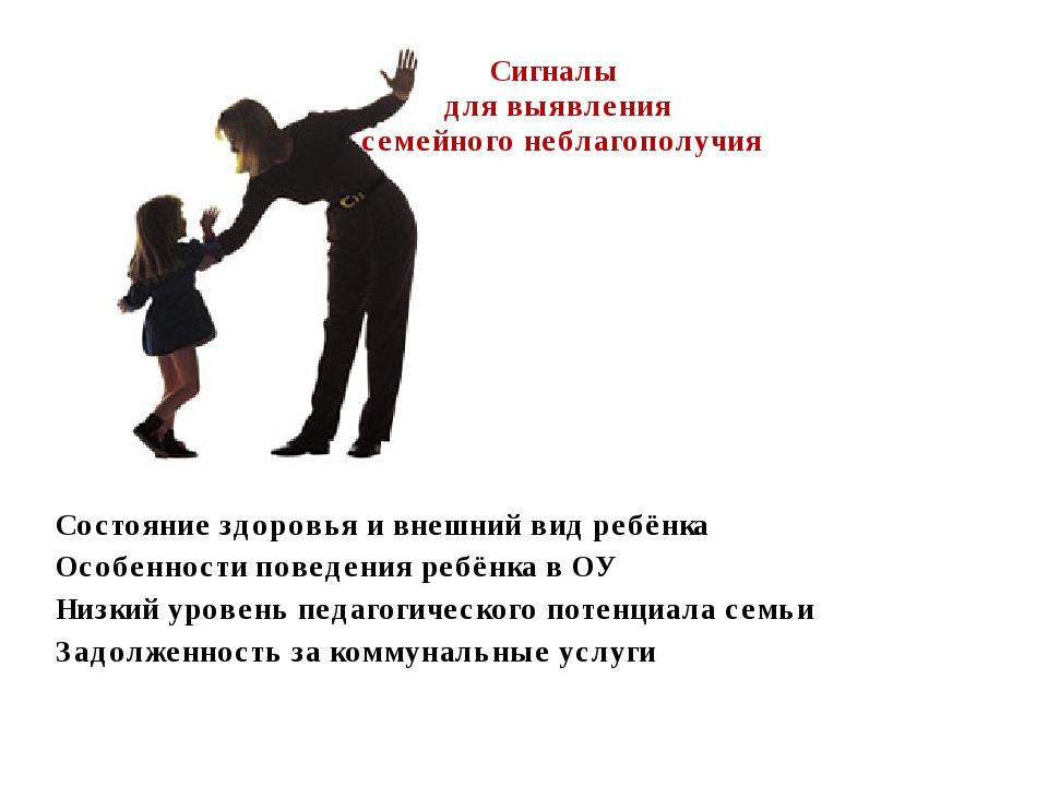 Сигналы для выявления семейного неблагополучия Состояние здоровья и внешний в...