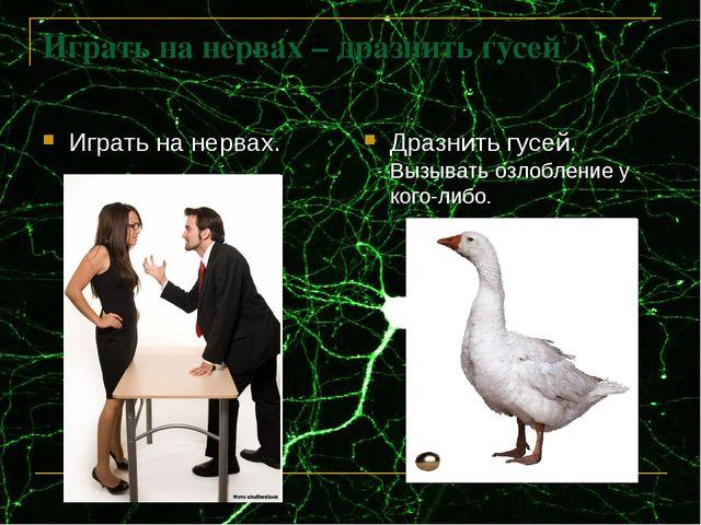 Играть на нервах – дразнить гусей Дразнить гусей. Вызывать озлобление у кого-...