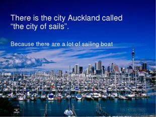 """There is the city Auckland called """"the city of sails"""". Because there are a lo"""