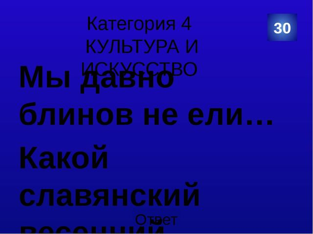 Категория 5 СПОРТ 50 ПЁТР 1 Категория Ваш ответ