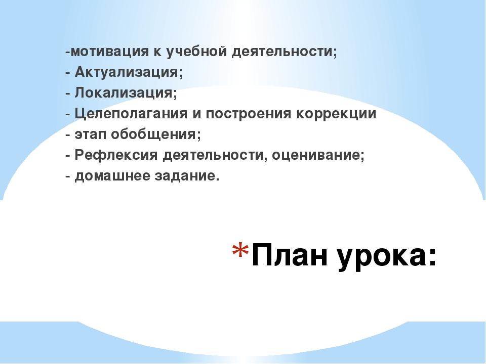 План урока: -мотивация к учебной деятельности; - Актуализация; - Локализация;...