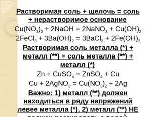 Растворимая соль + щелочь = соль + нерастворимое основание Cu(NO3)2+ 2NaOH