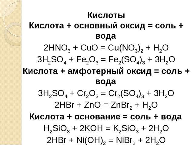 Кислоты Кислота + основный оксид = соль + вода 2HNO3+ CuO = Cu(NO3)2+ H2O...