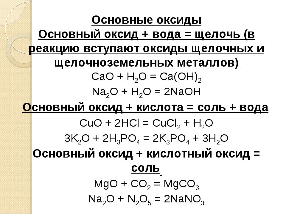 Основные оксиды Основный оксид + вода = щелочь (в реакцию вступают оксиды щел...