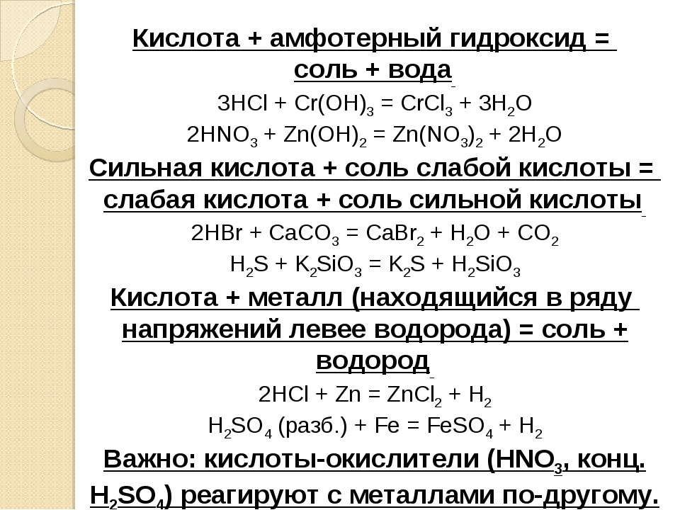 Кислота + амфотерный гидроксид = соль + вода 3HCl + Cr(OH)3= CrCl3+ 3H2O 2...