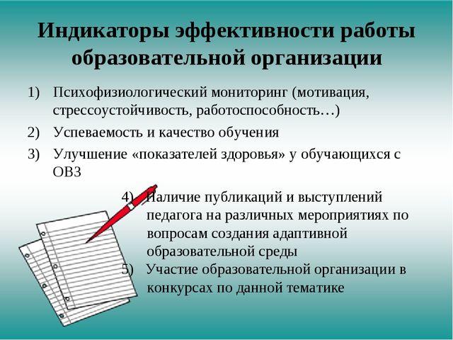 Индикаторы эффективности работы образовательной организации Психофизиологичес...