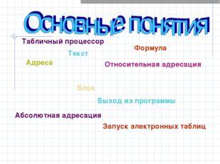 Табличный процессор Текст Формула Адреса Блок Относительная адресация Абсолют