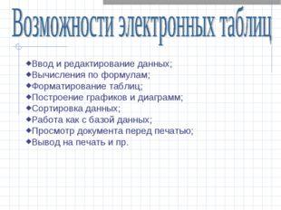 Ввод и редактирование данных; Вычисления по формулам; Форматирование таблиц;