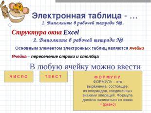 Электронная таблица - … 1. Выполните в рабочей тетради №1. Структура окна Exc
