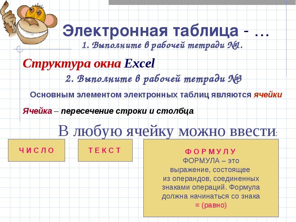 Электронная таблица - … 1. Выполните в рабочей тетради №1. Структура окна Exc...