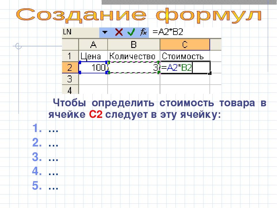 Чтобы определить стоимость товара в ячейке С2 следует в эту ячейку: … … … … …
