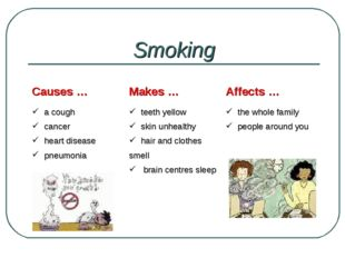 Smoking Causes …	Makes …	Affects … a cough cancer heart disease pneumonia 	 t