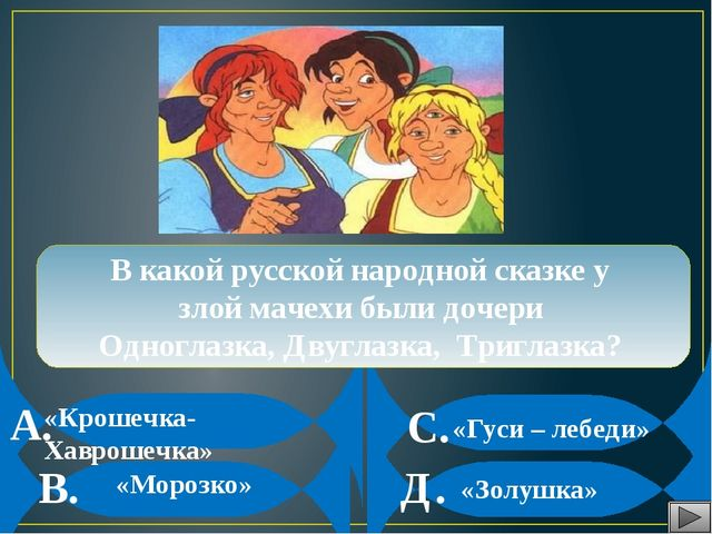 А. В. С. Д. В какой русской народной сказке у злой мачехи были дочери Одногл...