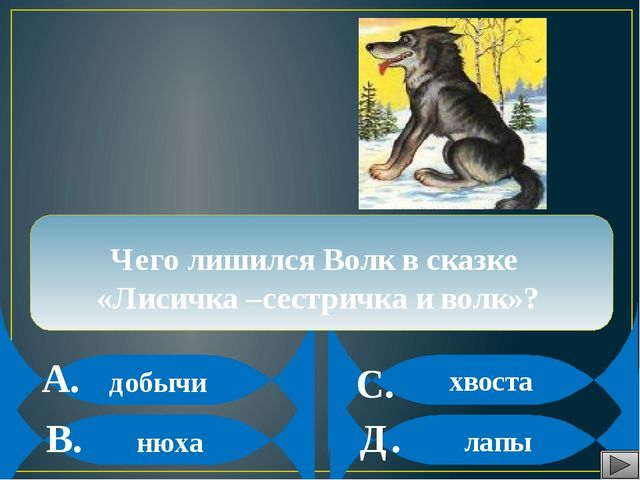 А. В. С. Д. Чего лишился Волк в сказке «Лисичка –сестричка и волк»? добычи н...