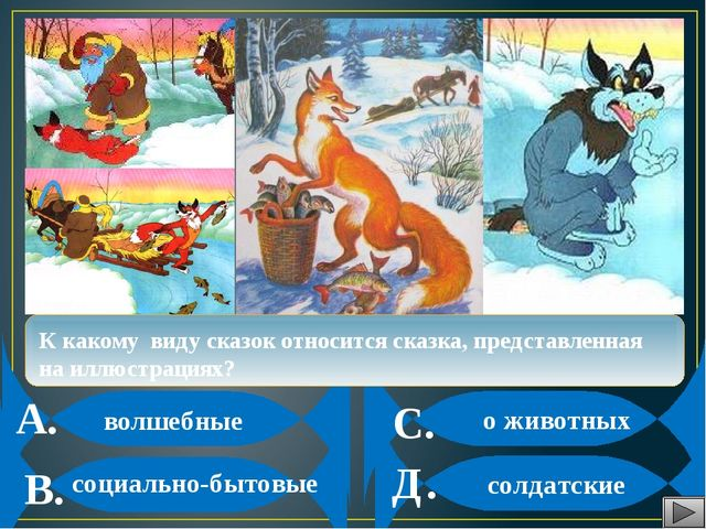 А. В. С. Д. К какому виду сказок относится сказка, представленная на иллюстр...