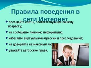 Правила поведения в сети Интернет посещайте сайты, соответствующие вашему воз