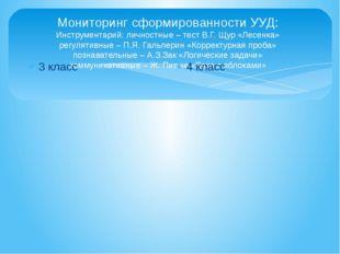 Мониторинг сформированности УУД: Инструментарий: личностные – тест В.Г. Щур «