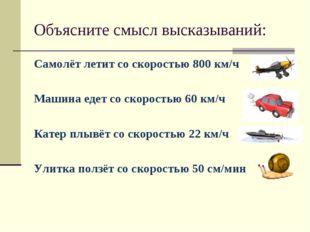 Объясните смысл высказываний: Самолёт летит со скоростью 800 км/ч Машина еде
