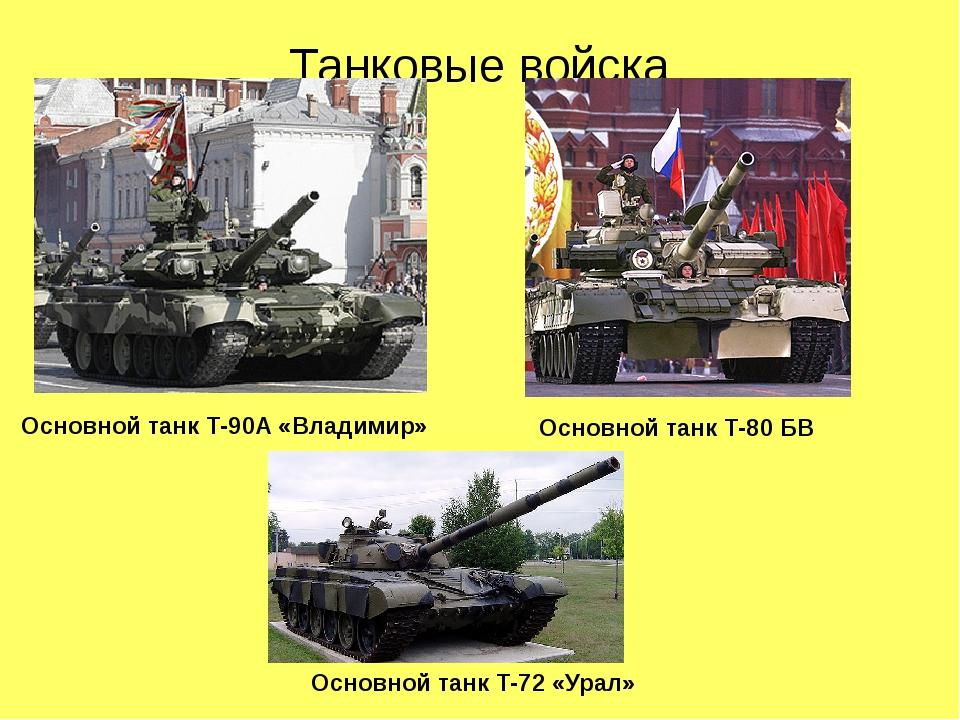 Танковые войска Основной танк Т-90А «Владимир» Основной танк Т-80 БВ Основной...