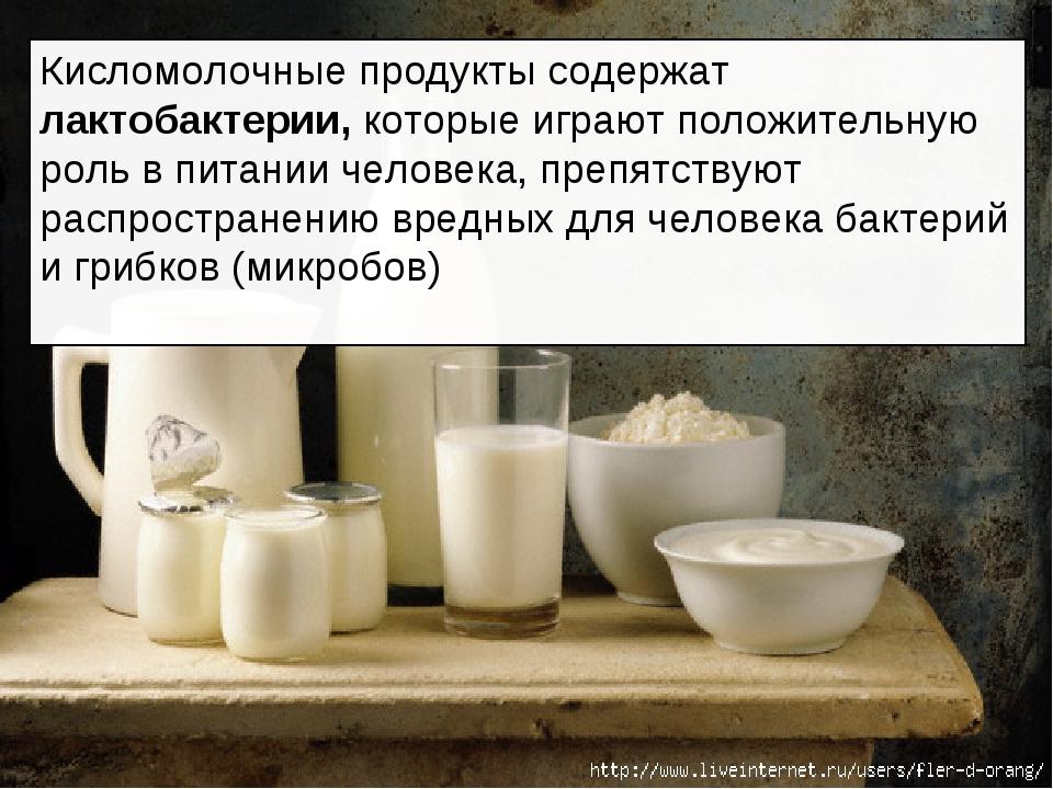 Кисломолочные продукты содержат лактобактерии, которые играют положительную р...